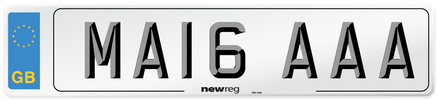MA16 AAA Number Plate from New Reg